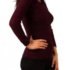 Pulover tricotat visiniu dama - Pulover dama, Marime: Masura unica, Acril