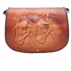 Cavalli - Geanta piele naturala embosata model 2 cai