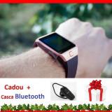 Ceas Telefon Inteligent Smartwatch 4P-Touch DZ09 2017 Android slot SIM GSM, Aluminiu, Auriu, Tizen Wear