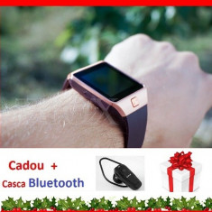 Ceas Telefon Inteligent Smartwatch 4P-Touch DZ09 2017 Android slot SIM GSM, Aluminiu, Auriu, Tizen Wear, Apple Watch