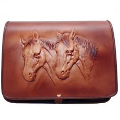 Cavalli Grande - Geanta piele naturala embosata model 2 cai
