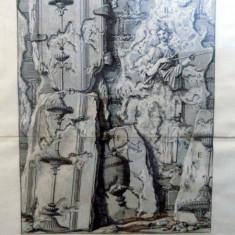 Giovanni Battista Piranesi, Vestigii romane, gravura originala 1756 - Pictor roman