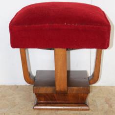 Taburet Stil Biedermeier din lemn masiv cu sezut din perna pe arcuri; Scaun