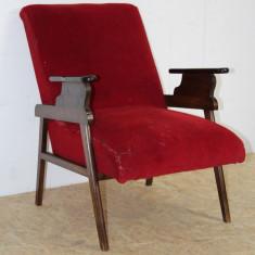 Fotoliu Vintage din lemn masiv cu saltea pe arcuri, deosebit de confortabil