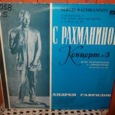 -Y- RACHMANINOV - CONCERT NR.3 PENTRU PIAN SI ORCHESTRA - ANDREI GAVRILOV VINIL - Muzica Clasica electrecord