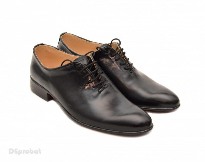 Pantofi barbati piele naturala negri casual-eleganti cod P65N - Editie de LUX foto mare
