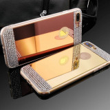 Husa Silicon PREMIUM de LUX superslim oglinda cu pietricele IPhone 7 plus,8 plus