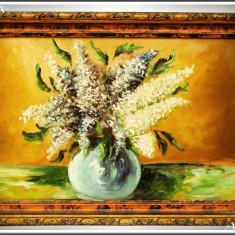 PICTURĂ VECHE ÎN ULEI PE PLACAJ - VAZĂ CU LILIAC - TABLOU ÎNRĂMAT, RAMĂ DE LEMN! - Tablou autor neidentificat, Flori, Altul