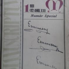 REVISTA MANUSCRIPTUM 1/1991:NUMAR SPECIAL EMINESCU/POEZII INEDITE (PETRU CRETIA)