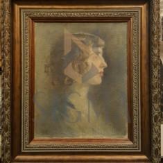 TABLOU, COSTIN PETRESCU, PORTRET DE FATA, U/P, 1920 - Pictor roman