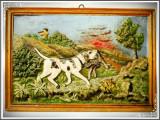 APLICĂ VÂNĂTOREASCĂ DIN ALUMINIU TURNAT ȘI PICTAT - CÂINE DE VÂNĂTOARE APORTÂND!, Ornamentale