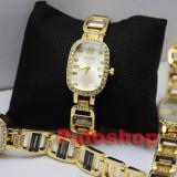 Ceas elegant de dama Shine Crystal - Gold Edition, bratara metalica Poze reale! - Ceas dama, Quartz, Piele ecologica, Analog, Nou