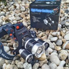 Lanterna Frontala gama BORUIT RJ-3002-T6 cu ZOOM si 3 Leduri CREE NOU
