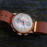 Ceas Chronographe Suisse - AUR MASIV 18K, mijlocul sec. XX, model extrem de rar - Ceas barbatesc, Lux - elegant, Mecanic-Manual, Piele, Cronograf