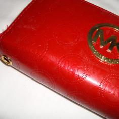 Portofel, portmoneu dama MK rosu lucios cu 2 fermoare foarte elegant - Portofel Dama, Cu fermoar
