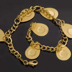 Bratara dublu placata Aur 18k, pandantive cod 339 - Bratara placate cu aur, Femei