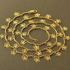 Set de bijuterii Butterfly dublu placat aur 18k, lantisor si bratara cod BT16 - Set bijuterii placate cu aur
