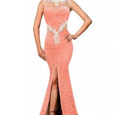 X506-19 Rochie eleganta de ocazie, cu trena, decorata cu dantela, plasa si aplicatii brodate - Rochie ocazie, Marime: L, Corai