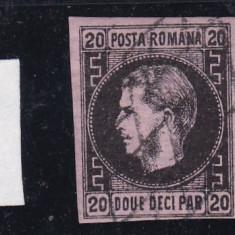 ROMANIA 1867 CAROL I  CU FAVORITI VAL.  20 PARALE NEGRU/ROZ HARTIE SUBTIRE STAMP