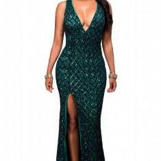 V504-12 Rochie eleganta de seara, cu model din paiete, decolteu adanc si crapatura - Rochie de seara, Marime: M/L, Verde, Maxi