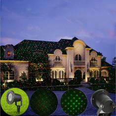 Proiector LED laser pentru exterior, metalic, cu proiectie jocuri stelute, cu telecomanda