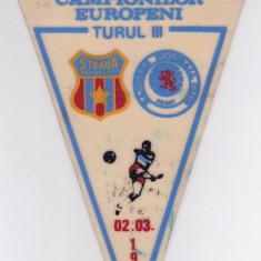Fanion fotbal STEAUA BUCURESTI - GLASGOW RANGERS 02.03.1988 CCE