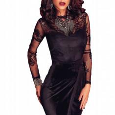 Z502-1 Rochie scurta eleganta, petrecuta in fata cu model din dantela - Rochie de seara, Marime: S/M, Negru