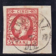 ROMANIA 1871 CAROL I CU BARBA 5 BANI PREDEAL FRAGMENT STAMPILA PREDEAL F.F. RARA - Timbre Romania, Stampilat