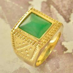 Inel Barbati verde Jad, dublu placat aur 18k, marime 8, 5US cod 58, 46 - 56