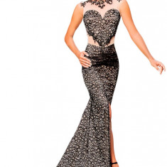 X506-1 Rochie eleganta de ocazie, cu trena, decorata cu dantela, plasa si aplicatii brodate - Rochie ocazie, Marime: L, Negru