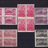 ROMANIA 1948, LP 235, FRATIA DE ARME LOT 5 BLOCURI DE 4 TIMBRE MNH - Timbre Romania, Nestampilat