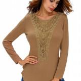 BL775-14 Bluza casual cu model crosetat - Bluza dama, Marime: M, M/L, S/M, Maneca lunga, Khaki, Poliester