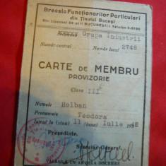 Carte Membru - Breasla Functionarilor Publici- Tinutul Bucegi -gr.Industrii 1940, Documente