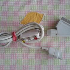 Vand cablu video pt SEGA DREAMCAST, cu iesire av EURO SCART si RCA, alb, Cabluri