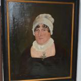 Portret de femeie ulei pe panza sec 19 - Tablou autor neidentificat, Portrete, Realism