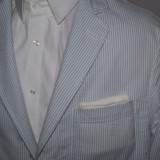 Sacou barbati casual din seersucker alb si albastru marimea 48, Culoare: Piersica, 3 nasturi, Normal, Bumbac