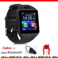 Smartwatch 4P-Touch DZ 09 Ceas Telefon +1 Casca Bluetooth Cadou, Aluminiu, Negru, Android Wear, Apple Watch