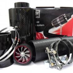 Filtru de aer Racing Style Carbon, cu turbina functionala. - Filtru aer sport