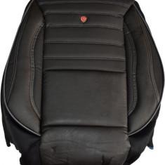 Husa auto imitatie piele perforata, LUX (Negru + Negru) - Husa scaun auto