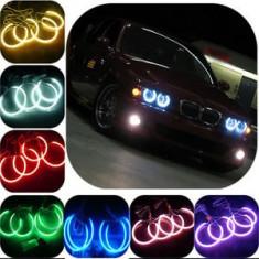 Angel Eyes BMW Seria 3, E46, faruri fara lupa, 16 culori, functie flash si telecomanda.