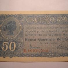 50 bani 1917 BGR UNC - Bancnota romaneasca