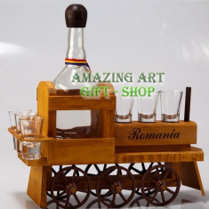 Tren lemn cu pahare - Arta locala