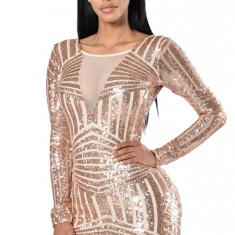 E510 Rochie sexy de club, cu decupaje din plasa nude si model din paiete aurii - Rochie de club, Marime: M, M/L