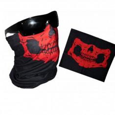 masca protectie fata cu imprimeu craniu , pentru paintball, ski, airsoft, rosie