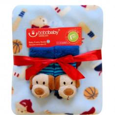 Bobobaby set de cadou: paturica + sosete 3d - albastru deschis - Lenjerie pat copii