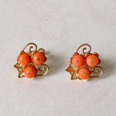 Cercei din aur de 14 carate si coral - Cercei aur, Carataj aur: 14k