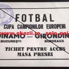 Bilet Acreditare DINAMO BUCURESTI - GIRONDINS BORDOEAUX 1984-1985 C.C.E. Fotbal - Bilet meci