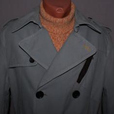 Trenci barbati HUGO BOSS Orange Label marimea 48 / M culoarea gri metal - Palton barbati, Bumbac