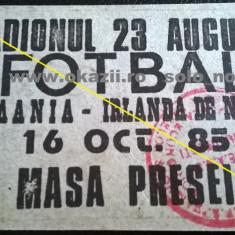 Bilet Acreditare ROMANIA - IRLANDA DE NORD 1985 Calificare la C.M. 1986 Fotbal - Bilet meci
