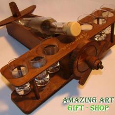 Avion lemn cu 6 pahare - Accesorii golf